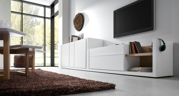 The LaForma Living Collection in white features classic  oak details.