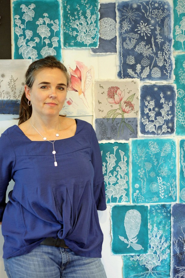 Rebecca Coulter at her studio Inspiration Wall.