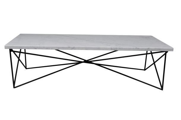 The Elle coffee table features timeless marble and a showstopping base.