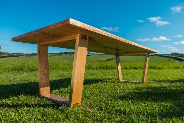 The Jan Juc angled leg dining table is made from 60mm thick solid Messmate.