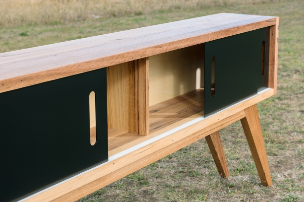 The Zeally Bay Sideboard designed and made by Bombora Custom Furniture features recycled Messmate and matt black metal doors.