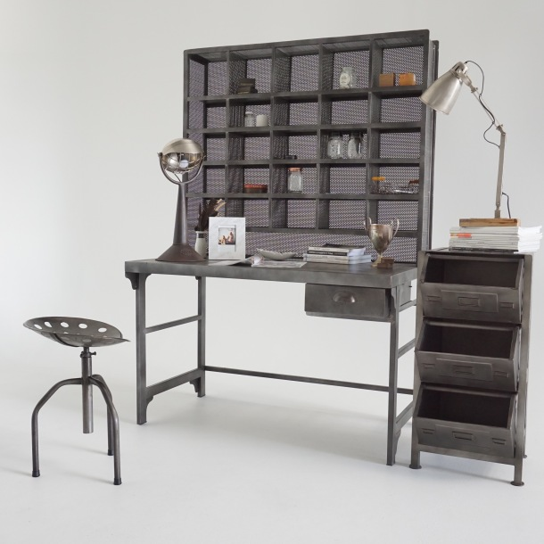 Metal desk with pigeon hole shelving and three drawer cabinet for the home office.