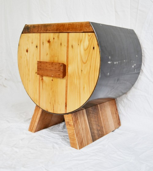 The Shield drawer unit combines recycled hardwoods and knotted pine.